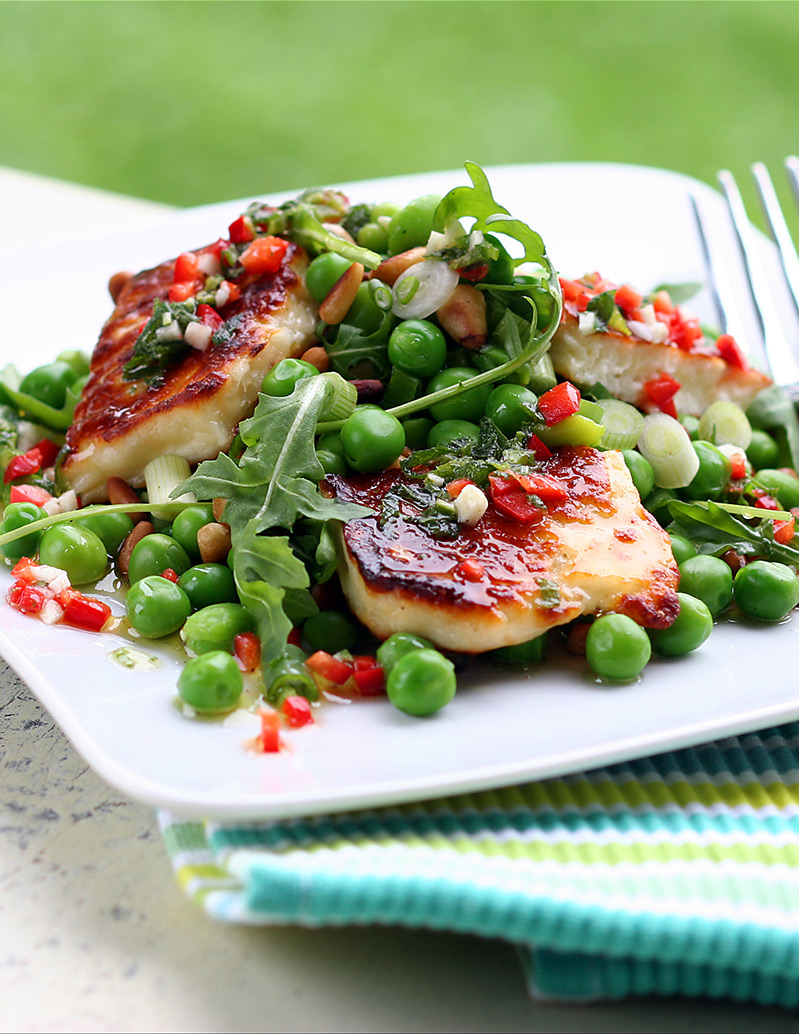 Grilled-Halloumi-with-Peas,-Pine-Nuts,-Broad-Beans-and-Rocket-edited