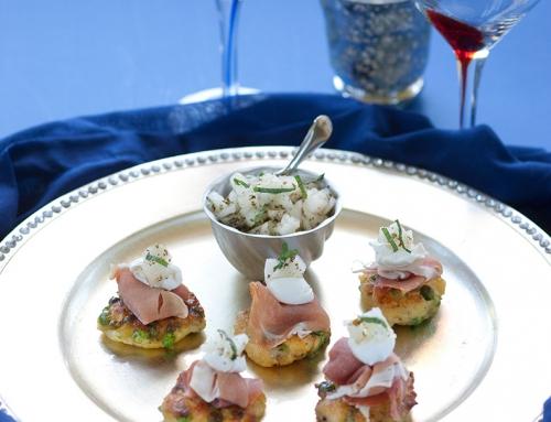 Pea Blini with Parma Ham, Mint & Melon Salsa