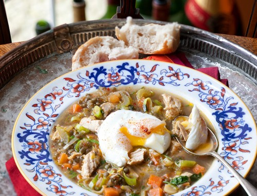 Winter Turkey, Vegetable and Lentil Broth with Poached Egg