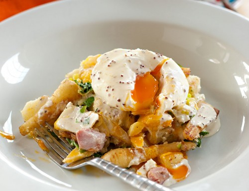 Smoked Haddock and Piccolo Parsnip Hash, Poached Eggs and Mustard Cream