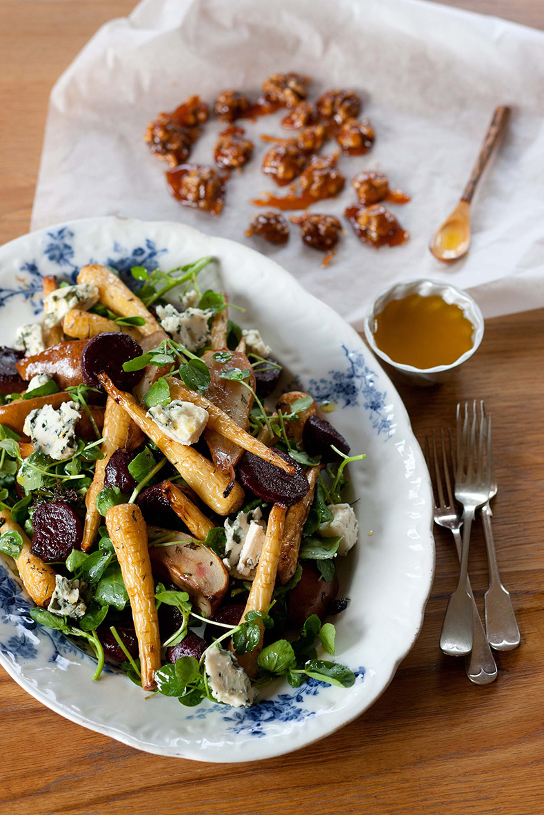 Roasted Piccolo Parsnip with Pear and Beetroot Salad