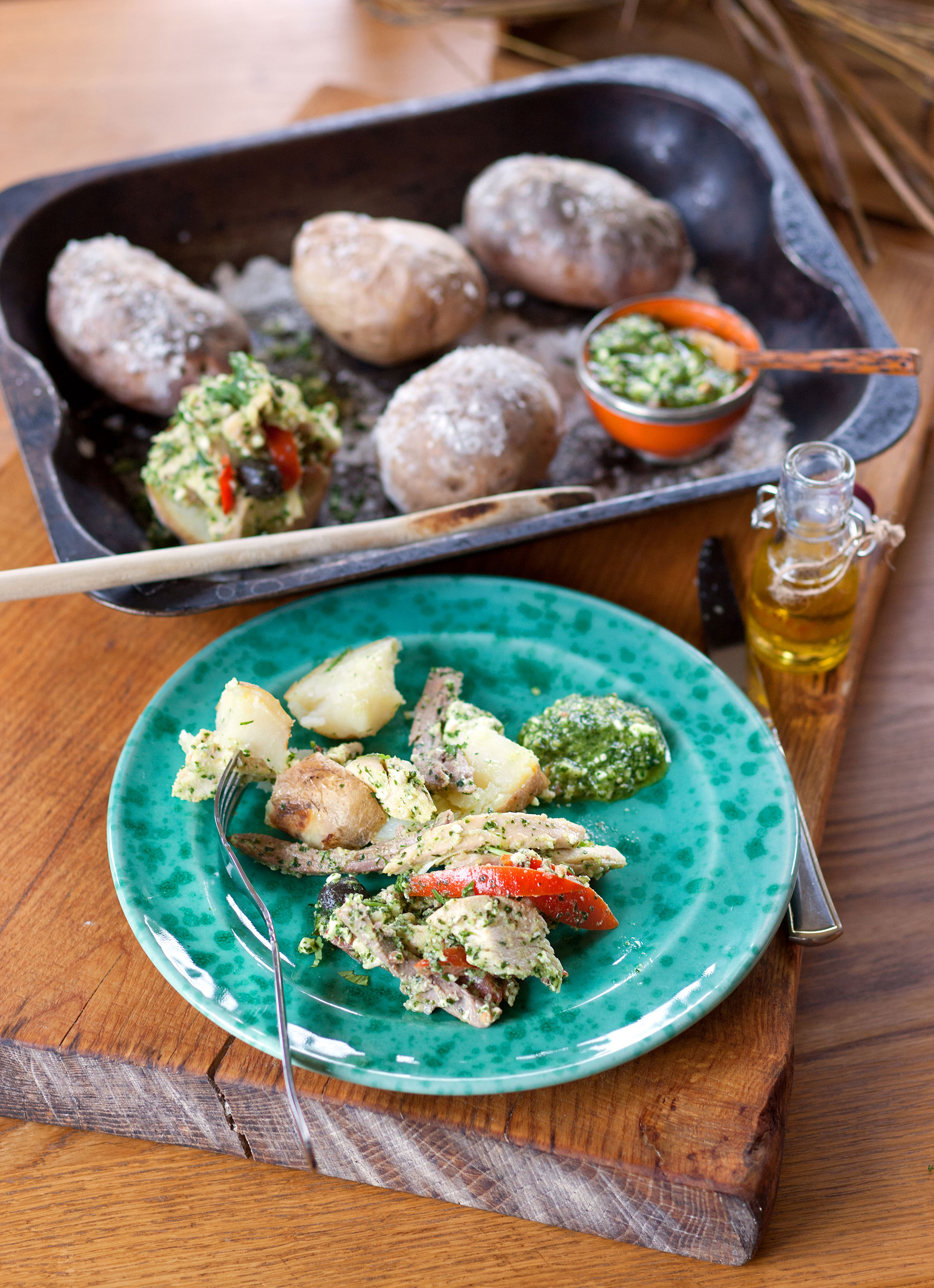 Golden Turkey with Coriander Feta Pesto in Salt Baked Potatoes